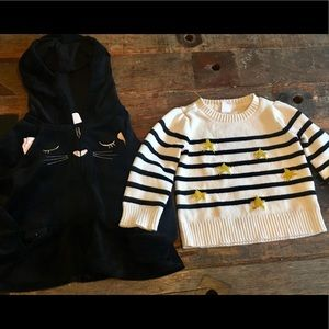 Gap velour hoodie and cotton sweater, 18-24 months
